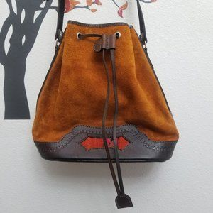 peruvian alpaca tooled leather bucket bag boho